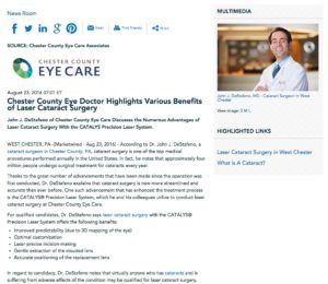 Dr. John J. DeStafeno discusses several benefits of cataract laser surgery.