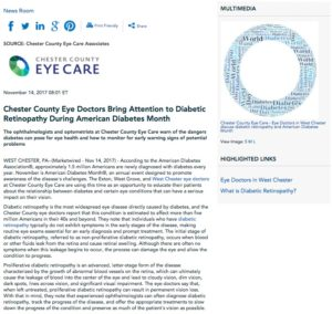 Chester County Eye Care focuses on diabetic retinopathy for American Diabetes Month